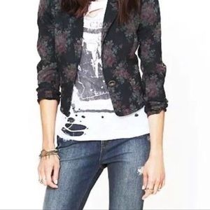 Free People Jackets & Coats - Free People Cropped Floral Black Jean Jacket